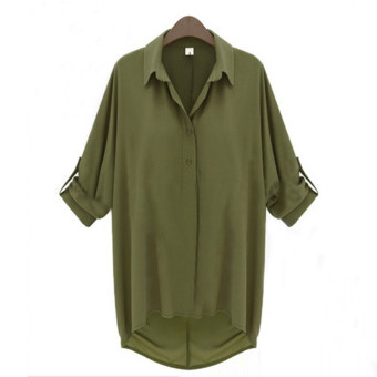 ZANZEA Plus Size Girls Sheer Chiffon Collar Batwing Sleeve Baggy Shirt Blouse Cardigan Green Price Philippines