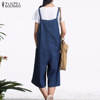 ZANZEA Rompers Womens Jumpsuit Summer Autumn Sleeveless Fashion Wide Leg Pants Denim Calf Length Vintage Overalls S-5XL - intl - 5