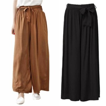 ZANZEA Summer 4 Colors Women Casual Loose Wide Leg Pants Elastic Waist Trousers Casual Cotton Long Pants Plus Size M-5XL (Black) - intl