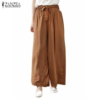 ZANZEA Summer 4 Colors Women Casual Loose Wide Leg Pants Elastic Waist Trousers Casual Cotton Long Pants Plus Size M-5XL (Khaki) - intl