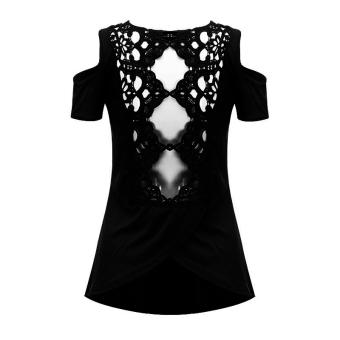 Zanzea Summer Sexy Women Hollow Off Shoulder Casual Short Sleeve Lace Splicing Crochet Blouse Tank Backless Split Tops Black - 4
