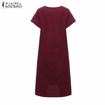 ZANZEA Summer Womens Solid Dress Casual Loose Plus Size S-5XL ShortSleeve O-Neck Dresses Vestidos (Claret) - intl - 5