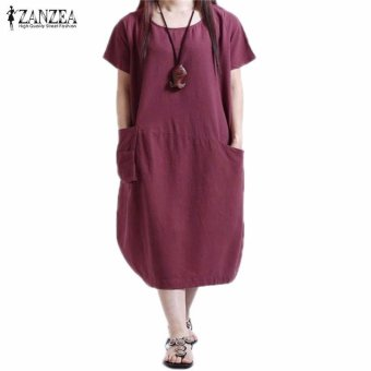 ZANZEA Summer Womens Solid Dress Casual Loose Plus Size S-5XL ShortSleeve O-Neck Dresses Vestidos (Claret) - intl