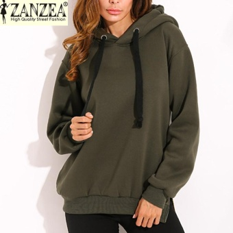 ZANZEA Trendy Women Casual Hoodies Sweatshirts Hoody Pullover Leisure 2017 Autumn Long Sleeve Hem Split Solid Outwear Tops Plus Size (Army Green) - intl