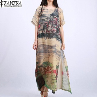 ZANZEA Vintage Women Silk Maxi Long Dress Boho Floral Printed Short Sleeve Ladies Kaftan Tunic Plus Size Vestidos L-5XL - intl
