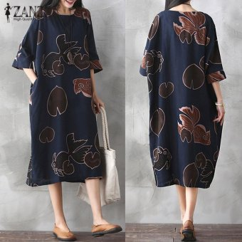 ZANZEA Vintage Womens Floral Printed Half Sleeve Cotton LinenCasual Party Dress Baggy Kaftan Vestidos Plus Size (Navy) - intl
