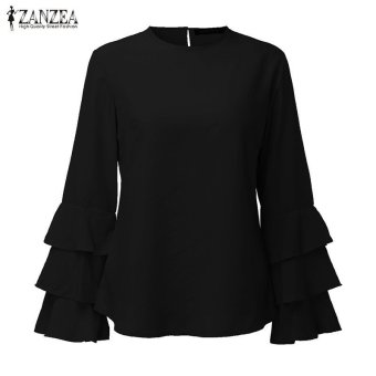 ZANZEA Women Blouses Ladies O-Neck Flounce Long Sleeve Solid Blusas Casual Loose Tops Plus Size (Black) - intl - 4