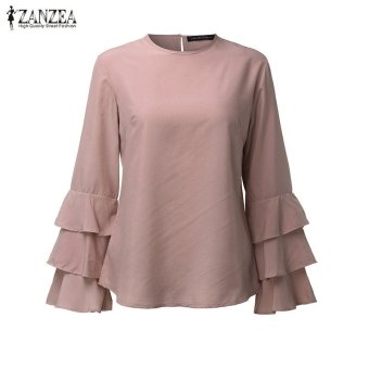 ZANZEA Women Blouses Ladies O-Neck Flounce Long Sleeve Solid Blusas Casual Loose Tops Plus Size (Pink) - intl - 4