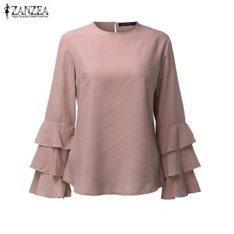 ZANZEA Women Blouses Ladies O-Neck Flounce Long Sleeve Solid Blusas Casual Loose Tops Plus Size (Pink) - intl - 3