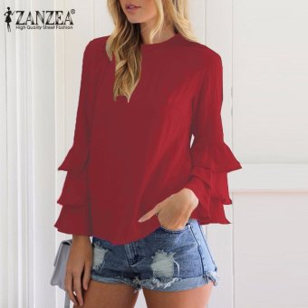 ZANZEA Women Blouses Ladies O-Neck Flounce Long Sleeve Solid Blusas Casual Loose Tops Plus Size (Wine Red) - intl - 2