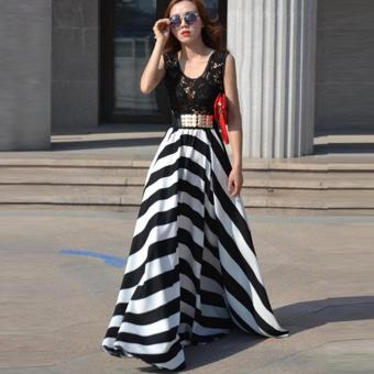 ZANZEA Women Boho Lace Long Maxi Party Dress Beach Chiffon Stripe Dresses Black and White-Intl - 2