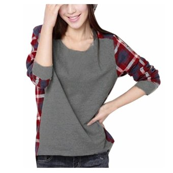 Zanzea Women Casual Long Sleeve Round Neck Check Plaid Casual Loose Tops Shirt Blouse Grey - 2