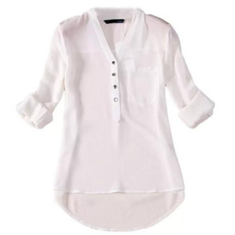 ZANZEA Women Fashion Leisure Long Sleeved Chiffon Shirt (White) Price Philippines