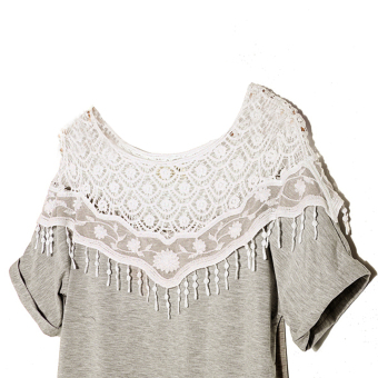 Zanzea Women Lace Hollow Boat Neck Short Sleeve (Grey) - 2