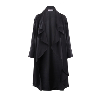 Zanzea Women Large Lapel Irregular XXL Cardigan (Black)