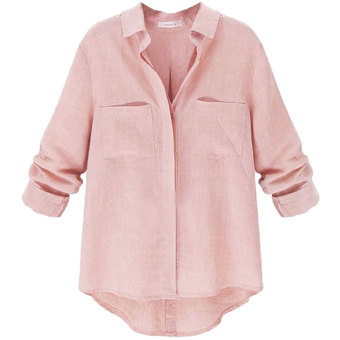 zanzea Women Long Sleeve Blouse Casual Loose Shirt (Pink) Price Philippines