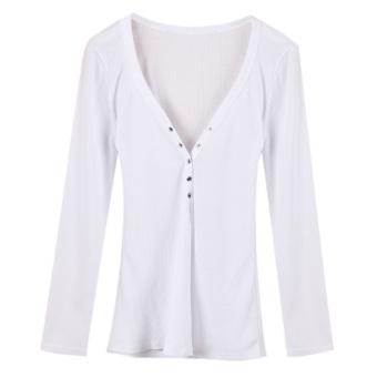 Zanzea Women Long Sleeve V Neck Slim Casual Sexy Tops White