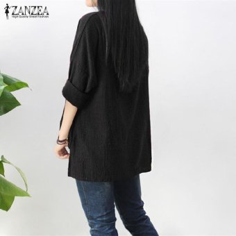 ZANZEA Women Round Neck Oversized T-Shirt Loose Blouse Pullover Tops Jumper Plus Size (Black) - intl - 5