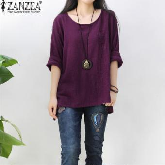 ZANZEA Women Round Neck Oversized T-Shirt Loose Blouse Pullover Tops Jumper Plus Size (Purple) - intl