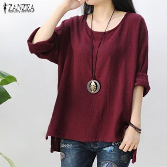ZANZEA Women Round Neck Oversized T-Shirt Loose Blouse Pullover Tops Jumper Plus Size (Wine Red) - intl