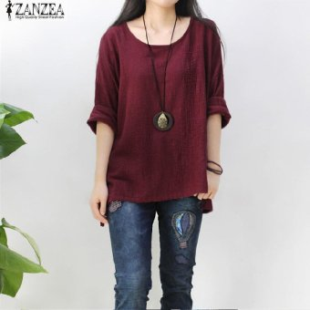 ZANZEA Women Round Neck Oversized T-Shirt Loose Blouse Pullover Tops Jumper Plus Size (Wine Red) - intl - 3