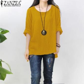 ZANZEA Women Round Neck Oversized T-Shirt Loose Blouse Pullover Tops Jumper Plus Size (Yellow) - intl