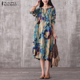 ZANZEA Women Vintage Long Maxi Dress Casual Loose O-Neck Long Sleeve Floral Print Dresses Elegant Plus Size (Blue) - intl