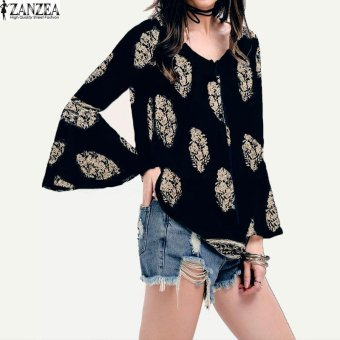 ZANZEA Womens Lace-Up V-Neck Shirt Oversized Boho Floral Print Flare Sleeve Casual Loose Blouse Tops (Navy) - intl Price Philippines
