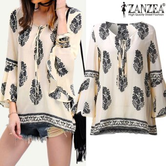 ZANZEA Womens Lace-Up V-Neck Shirt Oversized Boho Floral Print Flare Sleeve Casual Loose Blouse Tops (OffWhite) - intl Price Philippines