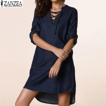 ZANZEA Womens Oversized Lace-Up V-Neck Denim Blue AsymmetricalCasual Mini Shirt Dress (Blue) - intl Price Philippines