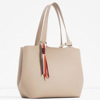 Zara Soft Mini Tote Bag (Beige) - 2