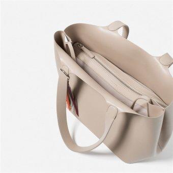 Zara Soft Mini Tote Bag (Beige) - 4