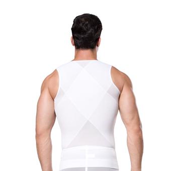 ZEROBODYS Men's Body Slimming Tummy Shaper Vest Belly UnderwearShapewear Girdle Shirt New SS-M09 White - 3
