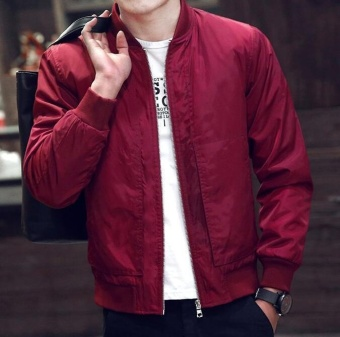 ZH Men's jacket, casual jacket, trend baseball suit, flying jacketred Price Philippines
