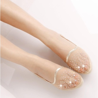 ZH Ms. Fashion Transparent Net Yarn Diamond Soft Bottom Sandals (Beige) - intl