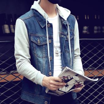 ZH Shopping ? ? Men can remove the hooded jean jacket Blue - intl