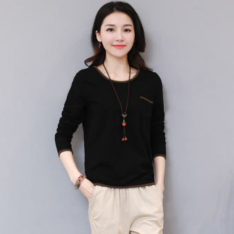 Zi Yi show female New style Slim fit Top T-shirt (Black)