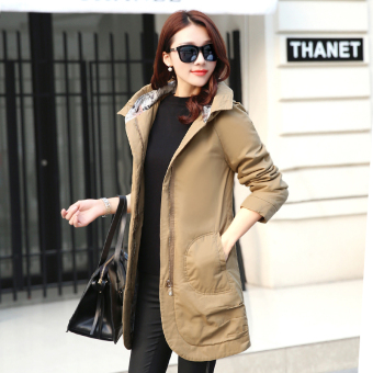 Zi Yi show Korean version of the winter New style hooded female coat (Khaki)