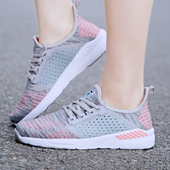 ZNPNXN Lovers Shoes Fashion Sports Shoes Slip-On Running ShoesBreathable Wear-Resisting Luxury Shoes Size 36-40 Yards (Grey &Pink) - intl