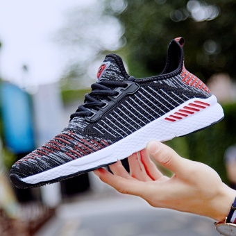 ZNPNXN Lovers Shoes Fashion Sports Shoes Slip-On Running ShoesBreathable Wear-Resisting Luxury Shoes Size 36-46 Yards (Black& Red) - intl