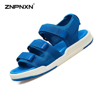 ZNPNXN Lovers Shoes Summer New Style Trend Men Slippers Comfortable And Soft Mens Shoes Fashion High End Leisure Sports Sandals Size 35-44 Yards (Blue) - intl