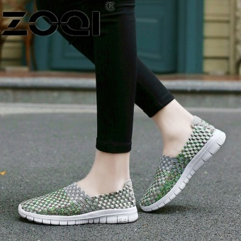 ZOQI Women Casual Shoes Breathable Handmade Woven Shoes ComfortableLight Weight Flat Shoes (Grey) - intl