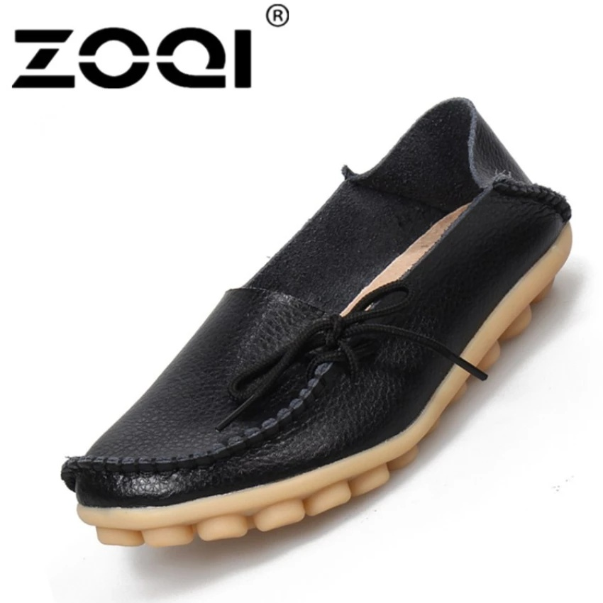 ... ZOQI Women's Fashion Slip-ons MaMa Leather Shoes Casual ShoesLoafers(Black) - intl ...