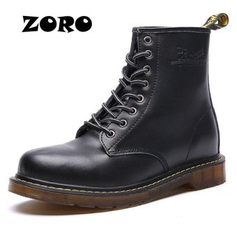 ZORO British Style Retro Classic Men 's Boots Leather Martin Boots High - Top Lace Up Motorcycle Boots (Black) - intl
