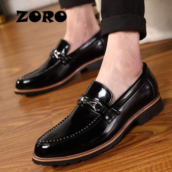 ZORO Mens Luxury Formal Dress Shoes Genuine Cow Leather Crocodile Skin Style Fashion Loafers (Black) - intl