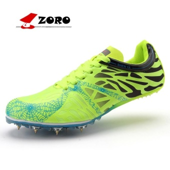 ZORO Track Sports Running Shoes Spike Spikes Athletics Training Shoes Football Shoes Green and Black - intl