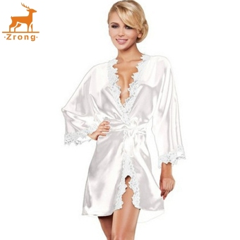 Zrong Women Sexy Lingerie Robe Dress 3/4 Sleeve Lace PatchworkNightwear Sleepwear Pajamas with G-string (White) - intl