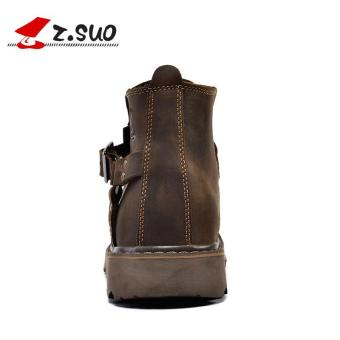 Z.SUO Men's Fashion Straps Biker Boots Cowhide Leather Shoes (DarkBrown) - intl - 4