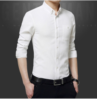 ZYSK Men Formal Long Sleeve Shirts White 62514