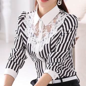 ZYSK Women Blouses Shirts Fashion Stripe Tops Z608102